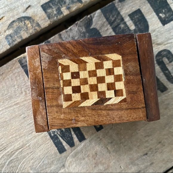 Small Vintage Wooden Ring Box